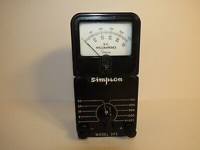Simpson Dc Milliamperes Model 373 Amp Meter Vintage Bakelite Equipment Working