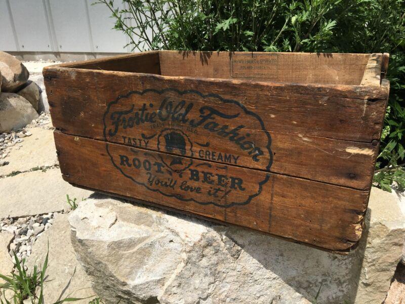 Vintage Wooden Soda Crate Frostie Old Fashion Root Beer 1949-51 Cincinnati Ohio
