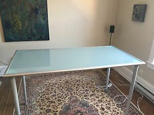 31 x 62 Frosted Glass Table