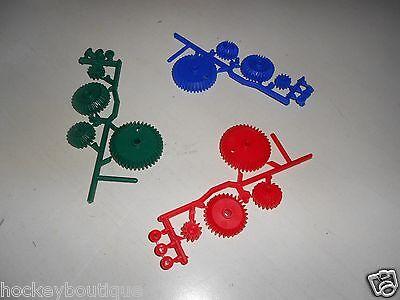 Lot Of 3 - 4 Pc. Gear Set Wbushings - Plastic Mechanical Gears - Blue Green