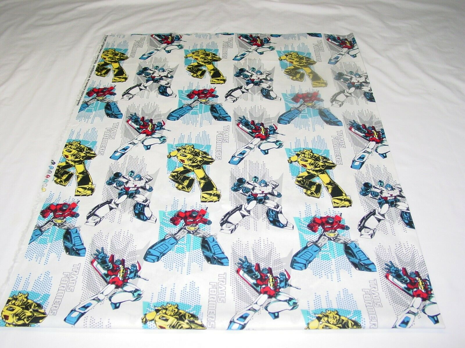TRANSFORMERS WHITE FABRIC 100 COTTON REMNANTS LENGTH 33 X WIDTH 43  - $10.50