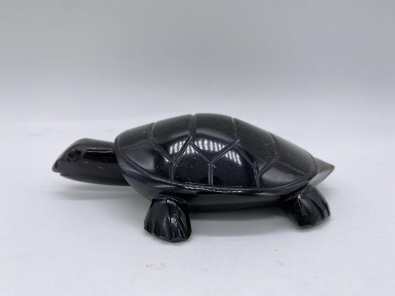 VTG Obsidian Gold Volcanic Glass Carved Turtle #4
