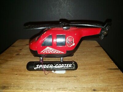 """Spiderman SPIDER COPTER Buddy L VINTAGE METAL 5"""" Vehicle HELICOPTER 1980 Marvel"""