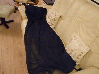 Unique evening dress size 6 navy, of 1 shoulder boned, cups, folds, JS BOUTIQUE