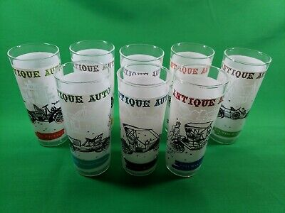 Antique Autos Set of 8 Drinking Glasses - Anchor Hocking Glassware No - Anchor Hocking Drinking Glassware