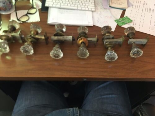 Vintage glass  door knob, plate and latch set