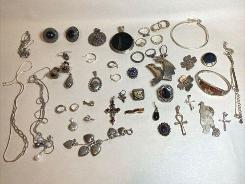 Vintage 925 Sterling Silver HUGE Jewelry Onyx Lot 241 grams SCRAP REPAIR OR USE