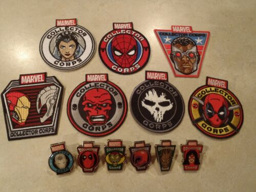 Marvel Collector Corps Lot 7 Patches & 6 Pins Funko Deadpool Groot Spiderman