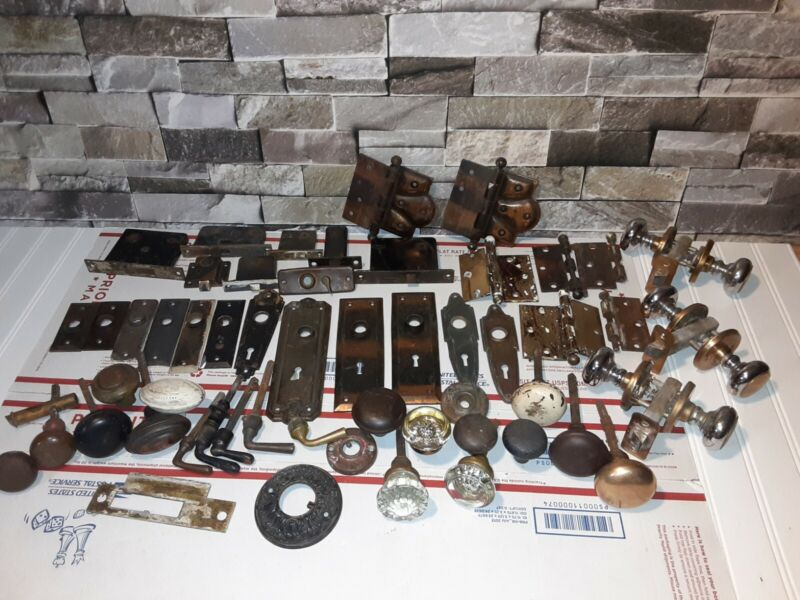 Huge Lot of Vintage HOUSE FIXTURES Doorknobs Hinges Glass Brass Knobs Antique