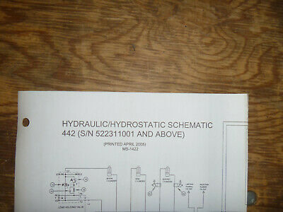 Bobcat 442 Excavator Hydraulic Hydrostatic Schematic Diagram Manual