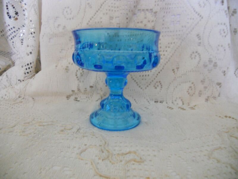 Indiana Glass/Tiffin  King's Crown Aquamarine  Wedding Dish/Candy Dish/Compote