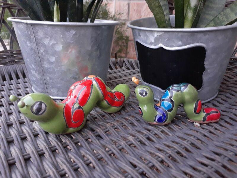 Mexican Talavera Yard Garden Art Pottery Set Of 2 Caterpillars