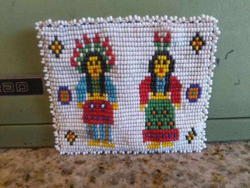 Native American Beaded Coin Purse Vintage Condition Bright colors