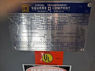 Square D Kva 15 Dry Type Transformer 480120-208 100 Ebayer Local Pick Up