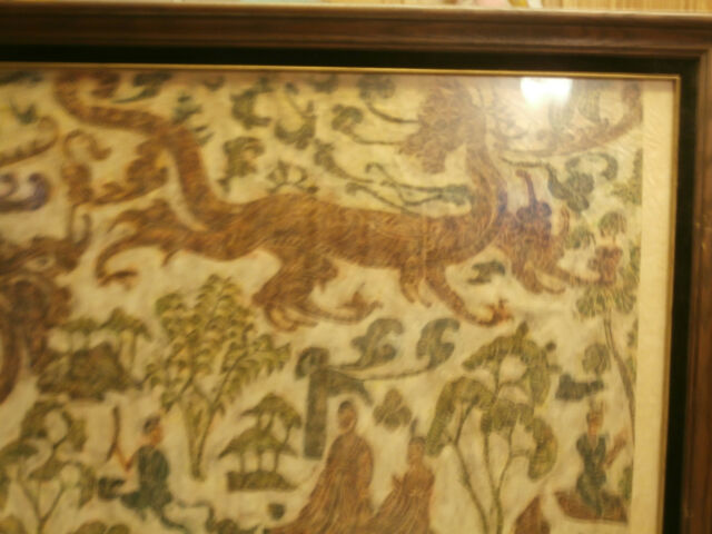 RARE FINE ANTIQUE CHINESE SCROLL OF SPIRITS AND RICE PAPER MOUNTED IN FRAME