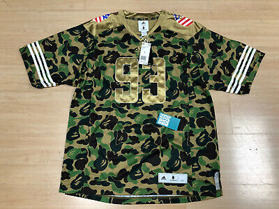 A BATHING APE BAPE ADIDAS SUPER BOWL FOOTBALL JERSEY CAMO GREEN BROWN GOLD XL