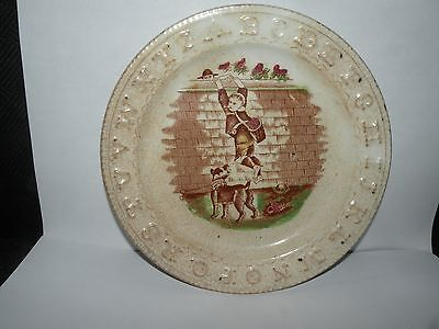 ANTIQUE STAFFORDSHIRE ALLERTON ABC CHILD'S PLATE boy stealing fruit dog fence