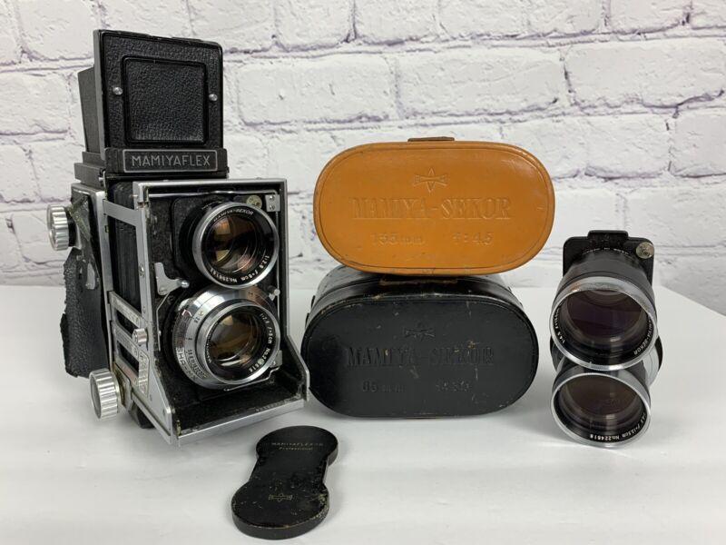 Mamiyaflex C TLR Camera Vintage Twin Lens Reflex Lens Cases And Bundle Working