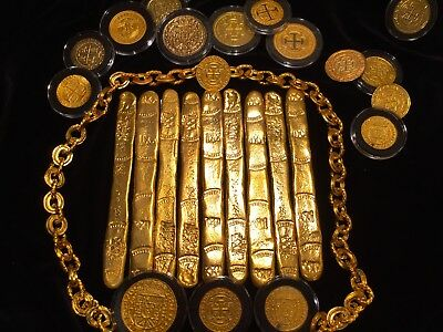 ATOCHA (1) GOLD FINGER BAR 22kt PLATED(102.7gm SILVER) 1622 TREASURE BAR ESCUDOS