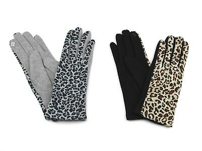 Womens Cellphone Gloves Leopard Cheetah Jaguar Animal Print Fleece Lining -