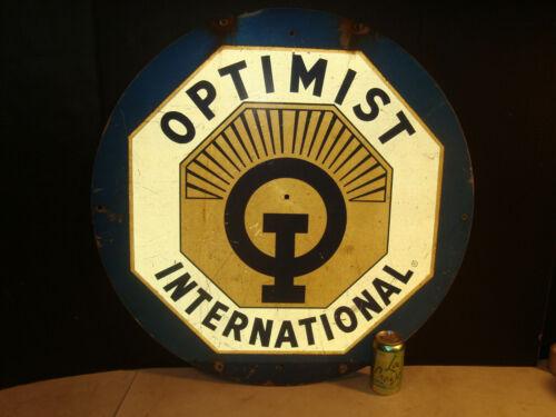 "Rare Huge 30"" City Billboard Optimist International Metal Sign Thick Aluminum"