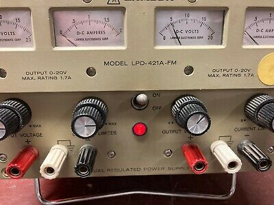Lambda Lpd-421a-fm Dual Regulated Dc Power Supply 0-20 Vdc