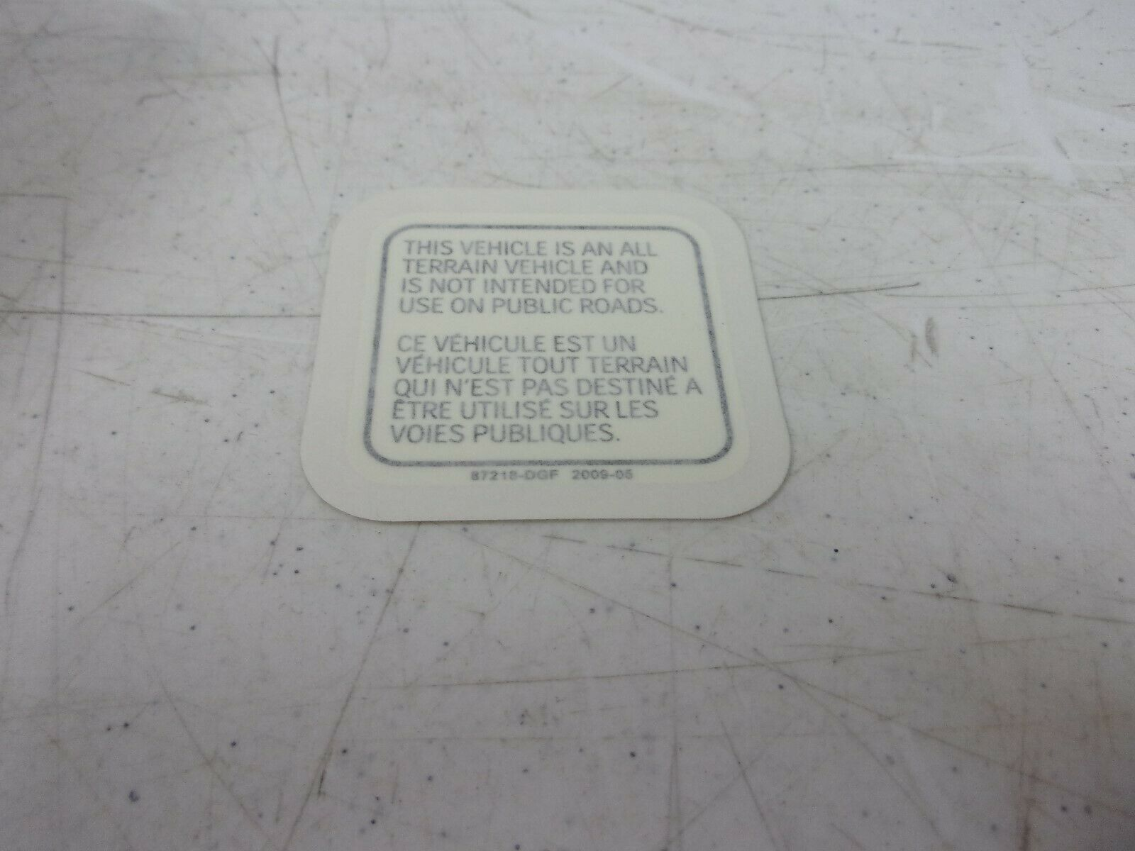 Can-Am ATV Warning Label V87218DGF000LL DS 90