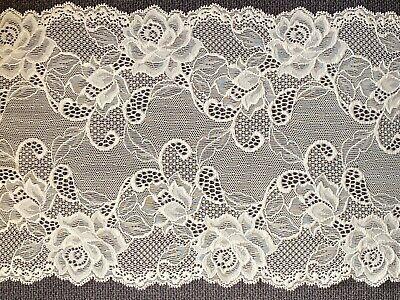 "laverslace - Quality Ivory Floral Rose Wide Stretch Lace Trim 8""/20cm"