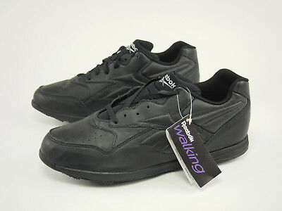 d13ef18ca8e New 1990s REEBOK Vintage Black Leather Walking Sneaker Shoes 47 - US 13