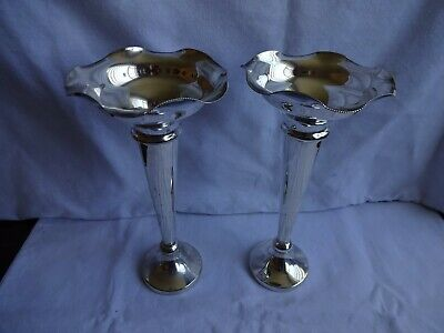Pair Vintage Silver Plated EPNS Posy Vases,  Height 8