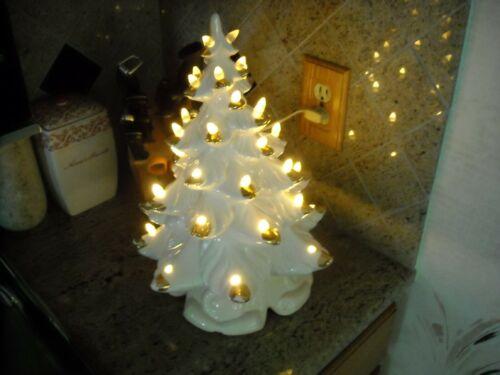 White Ceramic Christmas Tree Gold Tips