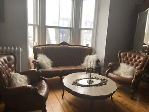 Antique Leather Victorian/ Ornate Sofa and Chairs