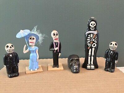 Vintage Dia Los Muertos Mexican Oddities Figures Lot Handmade Outsider Folk Art