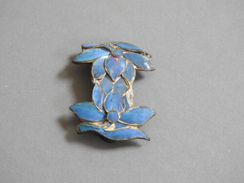 scarce vintage antique  blue KINGFISHER FEATHER JEWELRY  Clip tian-tsui