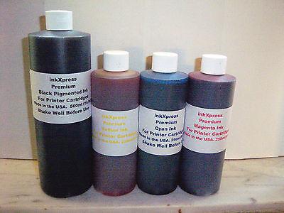 BULK INK REFILL SET 1x500ml/3x250ml FOR CANON HP CARTRIDGES. 88/88XL
