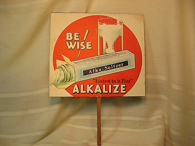VINTAGE ALKA-SELTZER ADVERTISING CARDBOARD HAND FAN WITH WOODEN HANDLE