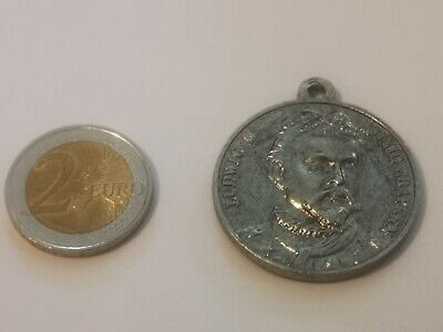 Charivari Anhänger Bieruhr König v. Bayern Münze Trachtenschmuck Antik  farben