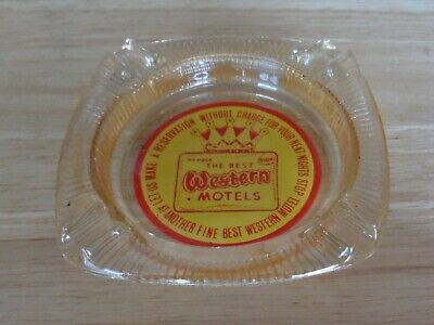 Best Western Motel~Vintage Glass Ashtray w/Red & Yellow Painted Text/Logo