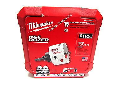 Milwaukee Slum Dozer Bi-Metal 15 Piece Hole Saw Drill Bit Set 49-22-4027  NEW