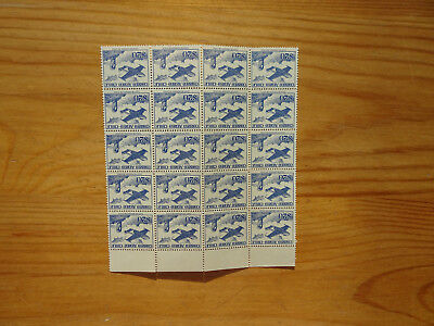 STAMPS CHILE BLOCK OF 20  $20 AEREO STAMPS FROM 1956   MINT