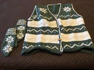 Knitted Vest and Matching Mittens