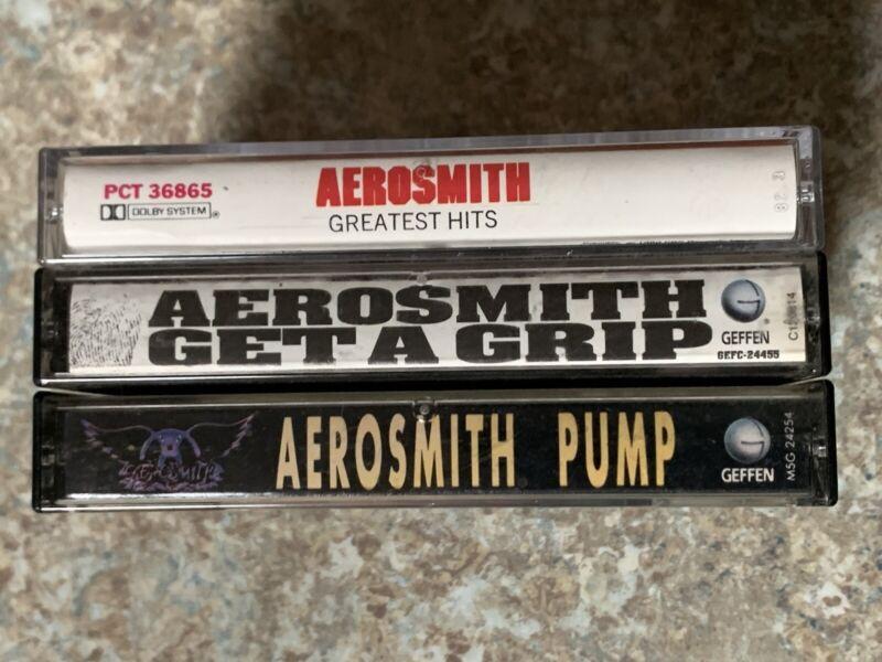 3 AEROSMITH Cassettes : GET A GRiP , PUMP & GREATEST HITS