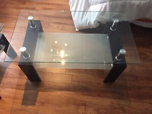 Tables de salon en verre et bois