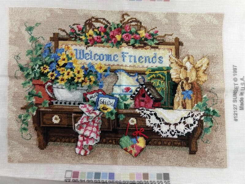 Sunset Welcome Friends Country Finished Completed Needlepoint Flowers Angel 1997