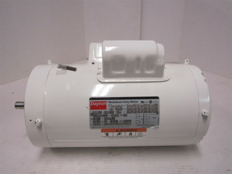 Washdown Motor, Capacitor-Start, Totally Enclosed Nonventilated, 1 HP, 1725 rpm