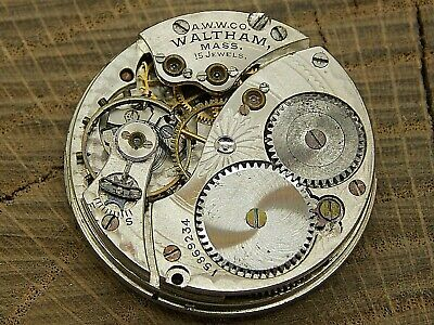 Waltham Antique Pocket Watch Movement 0 size 15 j Grade 165 Hunting nice dial