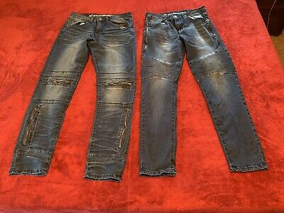 V19-69 Vintage Blue Jeans- Lot Of 2-Versace Italia- 32x32- Zipper Pockets- Rare!