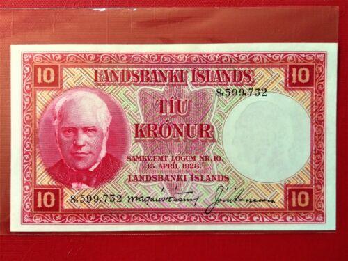 1928 LANDSBANKI ISLANDS 10 KRONUR OLD BANKNOTE @ AU/UNC