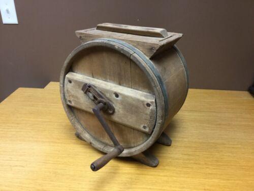 Antique Primitive Table Top Wooden Hand Crank Butter Churn w/Lid (MAR11)
