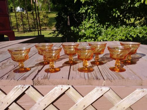 "Vintage Set of 8 Fostoria Glass Jamestown Amber 4 1/4"" Champagne Tall Sherbet"